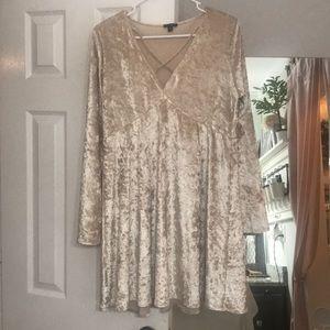 Champagne color velvet dress